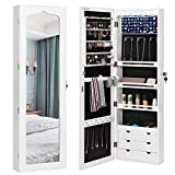SONGMICS Extended 4.9' Depth LED Jewelry Cabinet Armoire with 6 Drawers Lockable Door/Wall Mounted Jewelry Organizer White Patented Mother's Day gift UJJC88W