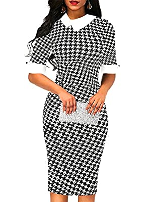 Hand-wash and Machine washable, Dry Clean. classic black and white plaid floral flare patchwork half sleeve button with back zipper peter pan collar shirt collar pencil sheath knee length dress the fabric have stretchy.It very soft and comfortable. T...