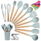 CORAFEI Utensilios de cocina silicona y madera, esptula, cuchara, cucharn, batidor, pinza para espagueti, olla de almacenamiento, 5 cucharas de medir y ganchos - 12 Piezas