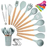 CORAFEI 12 PCS Kit d'Ustensiles de Cuisine en Silicone et Bois avec Pot de...