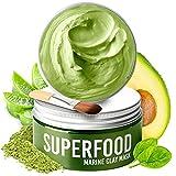100% Vegan - Maschera Viso Purificante e Idratante - Maschera Argilla Verde - Crema Idratante Viso con Superfoods 100 ml - Face Mask Scrub – Deterge e Restringe i Pori - Dermatologicamente testato