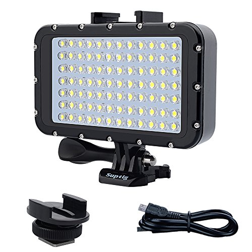 Suptig, Luce subacquea per immersione da 84 LED ad alta potenza, dimmerabile, impermeabile fino a 50 m, per GoPro, Canon, Nikon, Pentax, Panasonic, Sony, Samsung e fotocamere SLR