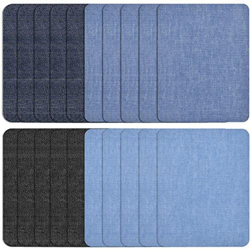 HQdeal 20 Pezzi 4 Colori Toppe Termoadesive Jeans Appliqus Toppa Quadrata Ferro Denim Toppa, Toppe per Stirare Jeans, Kit di Riparazione in Tessuto per Giacche Vestiti Borse Fai da Te, 12.5*9.4cm