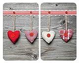 WENKO Plaque de protection en verre universel Coeurs - lot de 2, pour tous les...
