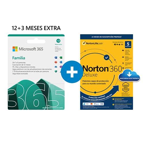 Microsoft 365 Familia   Apps Office 365   PC/MAC/teléfono   Suscripción anual   12+3 Meses + NORTON 360 Deluxe   15 Meses   PC/Mac - Código de activación enviado por email