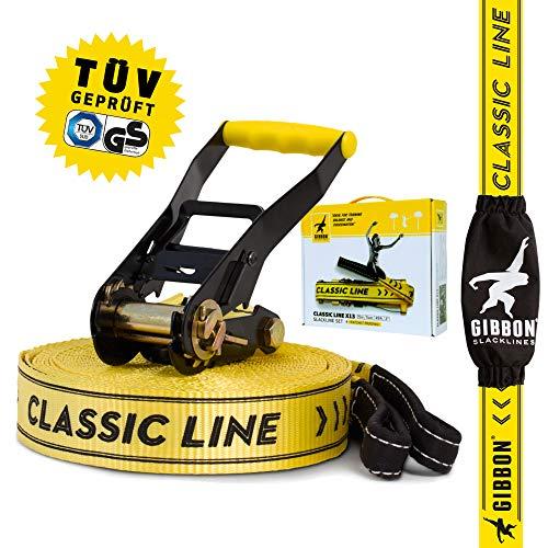 Gibbon Slacklines Classic Line, giallo, 25 metri (22,5 m slackline + 2,5 m di fettuccia slackline con cricchetto cucito), con cricchetto con protezione e blocco di sicurezza, larghezza 2'/5 cm