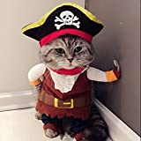 Idepet New Funny Pet Clothes Pirate Dog Cat Costume Suit Corsair Dressing up Party Apparel Clothing for Cat Dog Plus Hat (M)