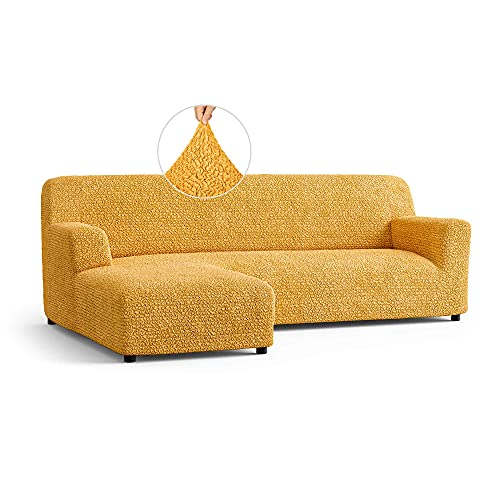 Sectional Couch Cover - L-Shape Sofa Cover - Soft Polyester Fabric Seat Slipcovers - 1-Piece Form Fit Stretch Furniture Slipcover - Microfibra Collection - Mango (Left Chase)