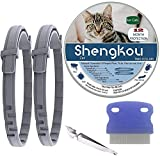 Flea and Tick Collar for Cat, Made with Natural Plant Based Essential Oil, Safe and Effective Repels Fleas and Ticks, Waterproof, 12 Months Protection, 13.8 in (2 Packs)