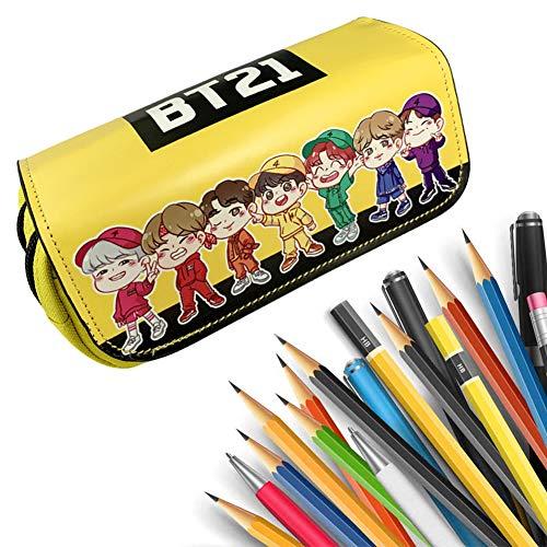 BAIBEI Astuccio per matite BTS, Astuccio a Doppio Strato, portapenne, per Studenti e Adolescenti, con Scomparti per Cosmetici, Trucchi, 20x9x6.5cm, Giallo