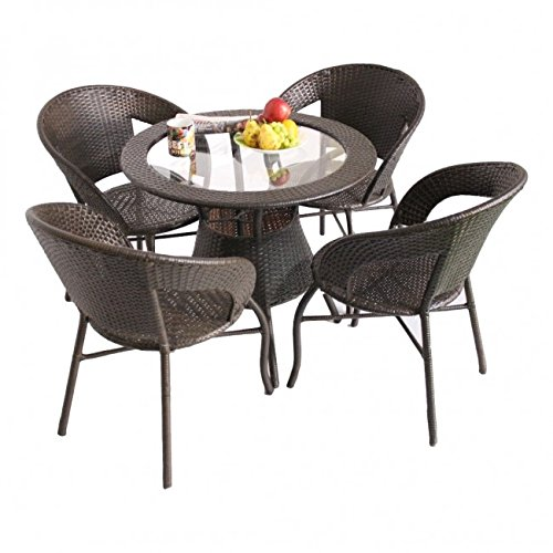Unique360 Wix Out Door Golden Four Seater Garden Patio Set 1+4 (4 Chairs and Table with Glass Set)