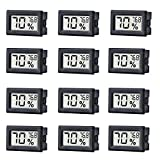 12 Pack Mini Small Digital Electronic Temperature Humidity Meters Gauge Indoor Thermometer Hygrometer LCD Display Fahrenheit (℉) for Humidors, Greenhouse, Garden, Cellar