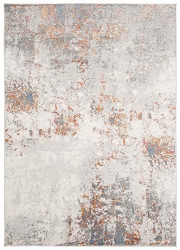 Amsterdam Tappeto Moderno sfumato e brillante per salotto camera soggiorno effetto carving Tortora Grigio Blu (G437A, 160x230cm)