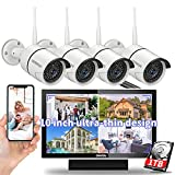 【8CH Expandable·Audio】 All in One Monitor Wireless Security Camera System,Home Surveillance Video Camera Kits with 10' HD Screen,4Pcs Outdoor/Indoor CCTV WiFi Cameras,1TB HDD, Waterproof,Remote View