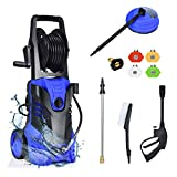 Goplus 3000PSI Electric Pressure Washer, Portable High Power Washer w/ 5 Nozzles, Hose Reel, Soap Bottle, 2 GPM 2000W (Blue)