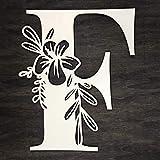 Lettre initiale florale en bois - F