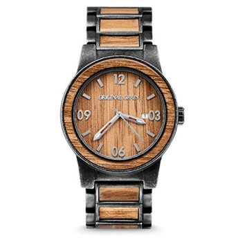 Original Grain Koa Stonewashed Wood Watch - Barrel Collection Analog Wrist Watch - Japanese Quartz Movement - Wood and Stainless Steel - Water Resistant - Hawaiian Koa Wood Watches for Men - 42MM