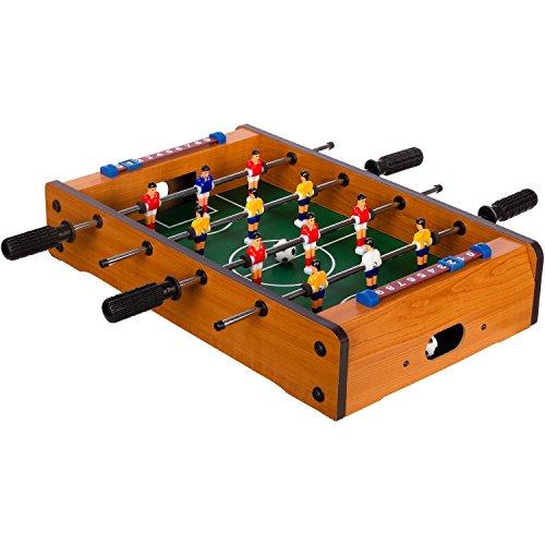 """Maxstore Mini-Tisch-Kicker Tischfussball """"Dundee"""", helles Holzdekor, Maße: 51x31x8 cm, Gewicht: 2,6 kg, 4 Spielstangen, inkl. 2 Bälle"""