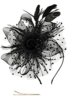 Fascinator Headbands for Women,100% Handmade,Size: 7 inch diameter Flower Firmly secured underneath with removeable headband and hair clip to hold in place and to give you the versatility to wear it any desire you like. You can style your hair like a...