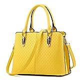 Mdsfe Nuevas Mujeres Messenger Bolsa Amarilla Casual Wild Ladies Party Monedero embragues Moda Patchwork Totes Dulce Mujer Bolsos de Hombro-Amarillo