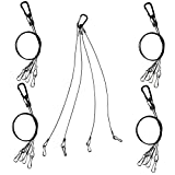 Bayyee Hanging Basket Plant Grow Light Rope Hanger Holders for Indoor and Outdoor, Stainless Steel (Black 5Pack)