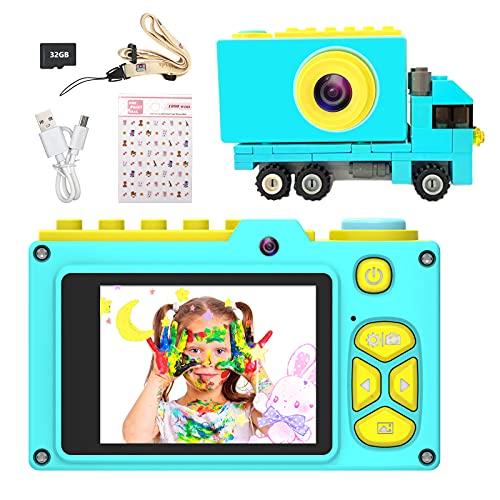 Ushining Macchina Fotografica per Bambini, Fotocamera Digitale per Bambini con Dual Lens Scheda Micro SD da 32 GB, Regali per Ragazze Ragazzi da 3-12 Anni, Schermo da 2 Pollici - Blu