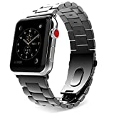 MoKo Compatible Band Replacement for Apple Watch, Stainless Steel Metal Replacement Band with Double Button Folding Clasp Fit iWatch 42mm 44mm Series 5/4/3/2/1 - Space Gray(Not Fit iWatch 38mm 40mm)
