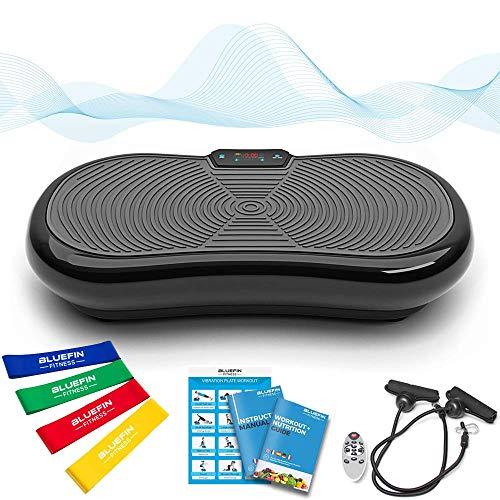 Bluefin Fitness Ultraflache Vibrationsplatte mit Leisem 1000-Watt Motor | LCD Display & Bluetooth Lautsprecher | 5 Trainings-Programme - 180 Level | Inkl. Fernbedienung, Trainingsbänder & Übungsposter