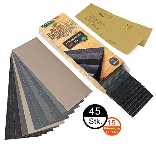 HOLZWURM Premium Schleifpapier-Set, 45 Bögen, grob - fein [ P 80 - P 3000 ] Nass & Trocken für Holz, Metall, Lack uvm.