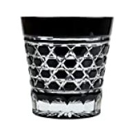 Double Old Fashioned Rocks Glass 11.4 Oz Edo Kiriko Cut Glass Black - Rokkaku-Kagome Hexagon Pattern [Japanese Crafts Sakura]