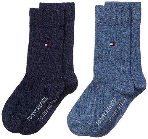 Tommy Hilfiger Children Sock TH Basic 2P Calze, Blu (Jeans 356), 35-38 (Pacco da 2) Bambini