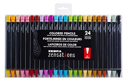 Zebra Zensations Mechanical Colored Pencils, 2.0mm Point Size, Assorted Colored Lead, 24-Count