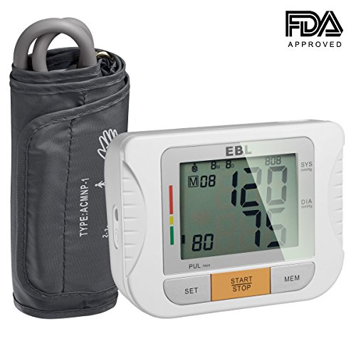 EBL Upper Arm Blood Pressure Monitor with Digital Blood Pressure Cuff That Fits Large Arms - Large LCD Display - Highly Accurate and Lightning Fast, FDA-Certified
