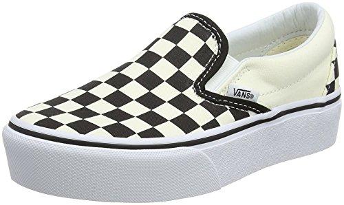 Vans Classic Slip-on Platform, Sneaker Donna, Black And White Checker/White Bww, 36 EU