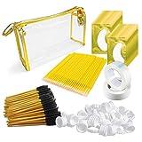 4x100 Packs Eyelash Extension Kits Gold- Under Eye Pads & Eyelash Mascara Wands Applicator Makeup Brush & Glue Rings Holder Nail Art Tattoo & Micro Applicators Brush Beauty Tools