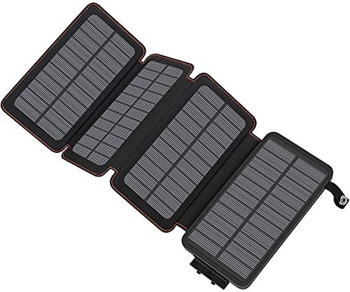 A ADDTOP Chargeur Solaire 25000mAh Haute Capacité Batterie Externe avec 2 Ports USB 4.2A Power Bank Portable pour Téléphone Tablettes