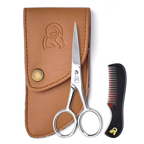 Forbici per barba e baffi con pettine per un taglio preciso - Affilatura e acciaio inox garantiscono che queste forbici dureranno, il sacchetto e la custodia proteggono il set, ordina il tuo ora!