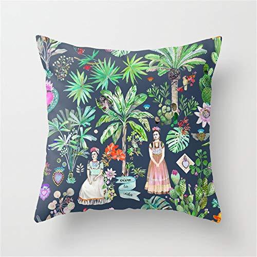 LESIF Frida Kahlo Botanics-Carbon Grey Almohada, Funda de cojín la Página de Inicio Almohada Fundas de Almohada 45x 45cm