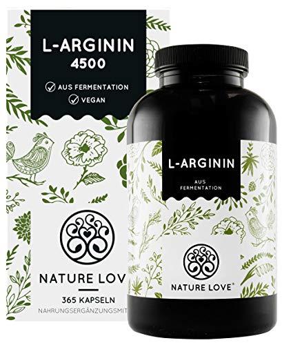 NATURE LOVE® L-Arginin - 365 vegane Kapseln - Hochdosiert: 4500mg L-Arginin HCL (=3750mg reines Arginin) je Tagesdosis. Pflanzliche Fermentation. In Deutschland produziert