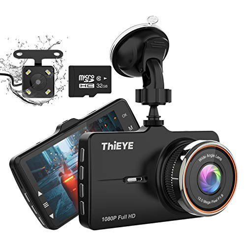 ThiEYE Telecamera per Auto, Dash Cam 1080P Doppia lente Telecamera Con scheda di memoria 32G Rilevazione di Movimento Registrazione in Loop con Visione Notturna WDR Schermo LCD da 3.2'