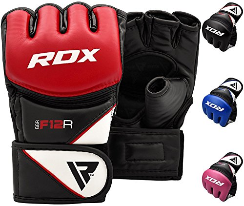 RDX MMA Guanti Maya Cuoio Grappling Guantoni Sparring Sacco Protezione Polso Knuckle, Sparring...