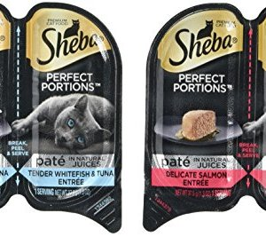 Sheba Perfect Portions Wet Cat Food, Delicate Salmon Entrée and Tender Whitefish and Tuna Entrée, (12) 2.6 Oz Twin-Pack…