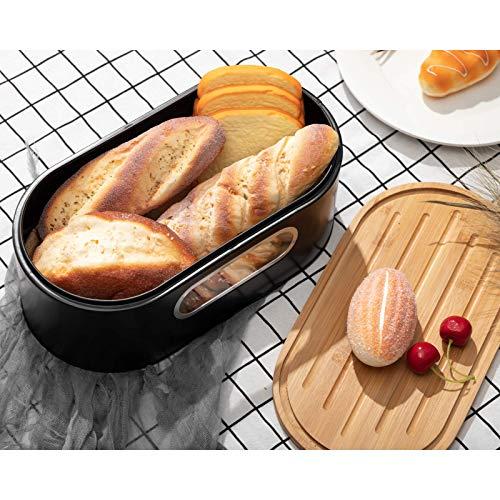 PARANTA Brotkasten für Küchentheke, großer Bauernhaus-Brotkasten mit Öko-Bambus-Schneidebrett-Deckelhalter, schwarz, 34 cm B x 18 cm T x 12 cm H