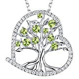 Zavest Birthday Gifts Women August Birthstone Peridot Jewellery Heart Love Tree of Life Necklace Sterling Silver Pendant Necklace