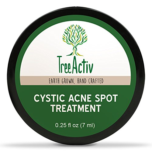 TreeActiv Cystic Acne Spot Treatment, Extra Strength Fast Acting Formula for Clearing Severe Acne from Face and Body, Gentle Enough for Sensitive Skin, Adults, Teens, Men, Women (0.25oz)