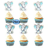 Double Sided Blue Baby Elephant Cupcake Toppers Birthday Party or Baby Shower Food Picks Decor and Party Supplies,Set of 24
