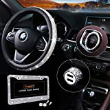 Bling Car Accessories Set, Bling Steering Wheel Cover for Women Universal Fit 15 Inch, Bling License Plate Frame for Women, Bling Car USB Charger(Fast Charging), Crystal Car Decor Set 4 Pack