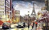 WIOIW Ciudad romántica París Torre Eiffel lloviendo Calle Paraguas Pareja Amante Paisaje peatonal Pintura al óleo Abstracta Arte de la Pared Póster Sala de Estar Dormitorio Decoración para el hoga