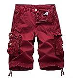 WSLCN Homme Shorts en Coton Rétro Baggy Cargo Camo Shorts Bermuda Outdoor Casual Combat Shorts Pantacourt Rouge FR 34W (Asie 36W)
