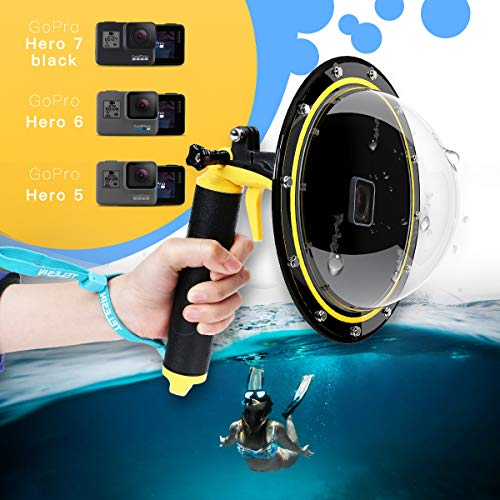 TELESIN Gopro Dome Port, Custodia impermeabile 6 pollici con galleggiante Impugnatura compatibile con GoPro Hero 6/Hero 5, Hero 2018, GoPro Hero7 Black TM051